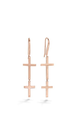 Lana 14k Double-Cross Drop Earrings