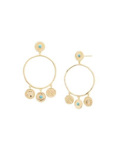 Cruz Coin Drop Hoop Earrings w/ Stones