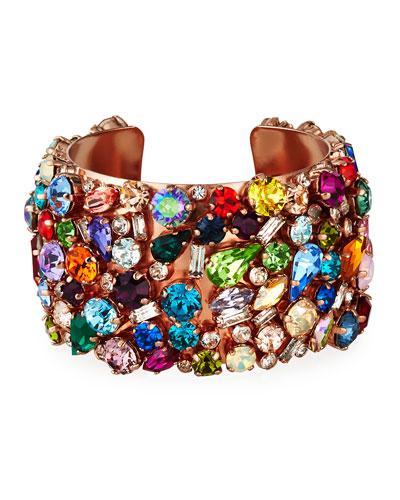 Felicia Mixed-Crystal Cuff Bracelet