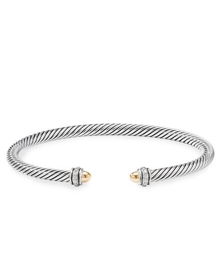 David Yurman Cable Bracelet w/ 18k Gold & Diamond, Size S-L