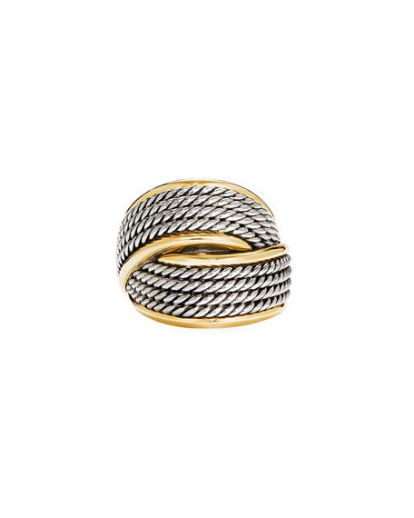 David Yurman Origami Crossover Ring w/ 18k Gold, Size 6-8