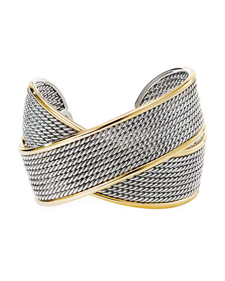 Image 2 of 2: David Yurman Origami Large Crossover Cuff w/ 18k Gold