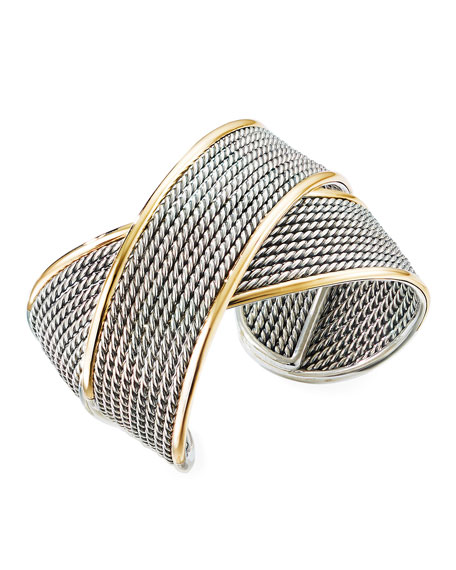Image 1 of 2: David Yurman Origami Large Crossover Cuff w/ 18k Gold