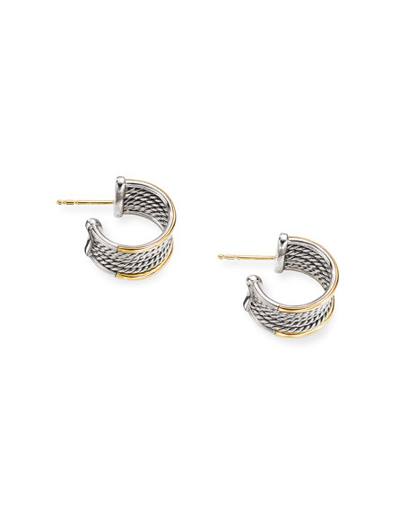 David Yurman Origami Cable Huggie Hoop Earrings w/ 18k Gold