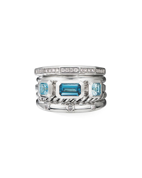 David Yurman Stax Wide Blue Topaz & Diamond Ring