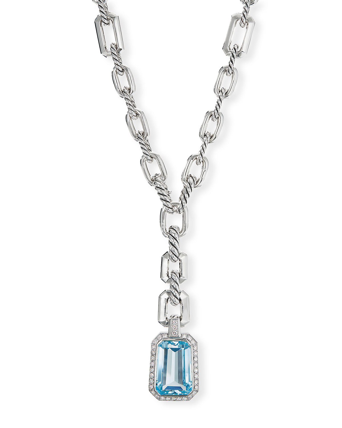 David Yurman Stax Y-Drop Pendant Necklace w/ Blue Topaz & Diamonds