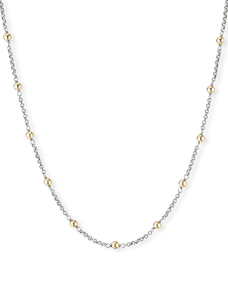 David Yurman Cable Collectibles 18k Gold-Bead & Chain Necklace