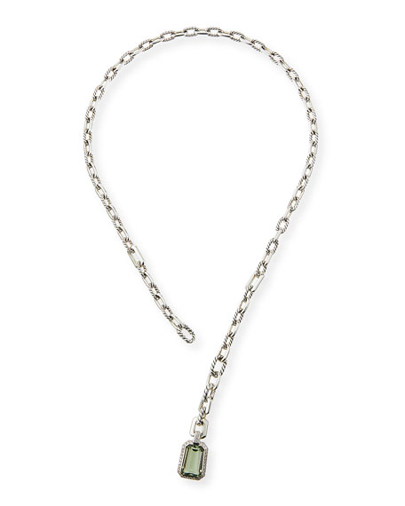 David Yurman Stax Y-Drop Pendant Necklace w/ Prasiolite & Diamonds