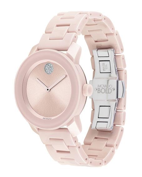 Movado 36mm BOLD Ceramic Bracelet Watch, Pink
