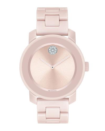 36mm BOLD Ceramic Bracelet Watch  Pink