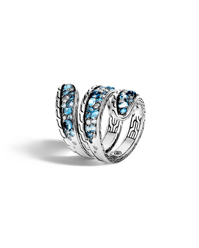 Classic Chain London Blue Topaz Coiled Ring