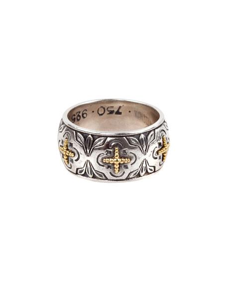 Konstantino Cross Milgrain Band Ring