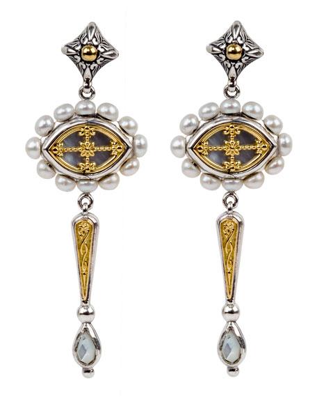 Konstantino Linear Dangle & Pearl-Trim Earrings