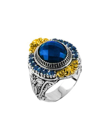 Konstantino Pave London Blue Topaz Ring, Size 8