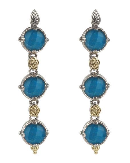 Konstantino Linear Chrysocolla Doublet Drop Earrings