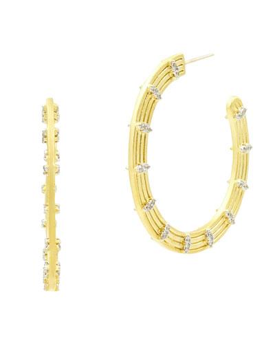 Fleur Bloom Empire Wide Hoop Earrings, Yellow Gold