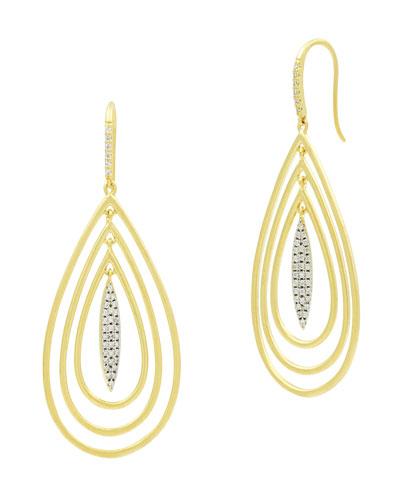 Fleur Bloom Empire 3-Teardrop Earrings, Yellow Gold