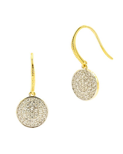 Radiance Pave Disc Fishhook Earrings  Yellow Gold