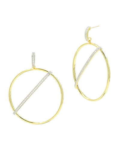 Radiance Pave Bar-Front Hoop Earrings  Yellow Gold