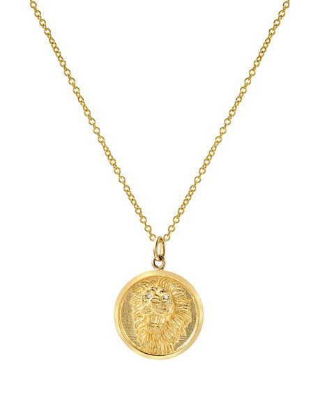 Zoe Lev Jewelry 14k Diamond Lion Medallion Necklace