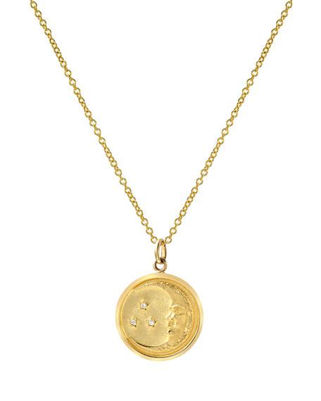 Zoe Lev Jewelry 14k Diamond Moon Medallion Necklace