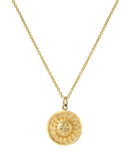 Zoe Lev Jewelry 14k Diamond Sun Medallion Necklace