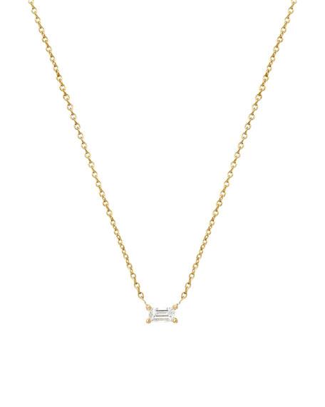 Zoe Lev Jewelry 14k Diamond Baguette Prong Necklace