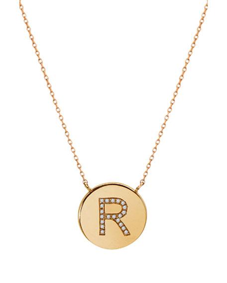 Zoe Lev Jewelry 14K Diamond Initial Disc Necklace