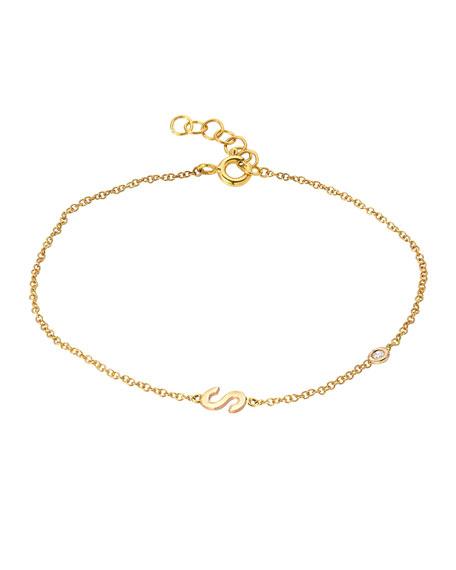 Zoe Lev Jewelry 14k Gold Initial w/ Diamond Bezel Bracelet