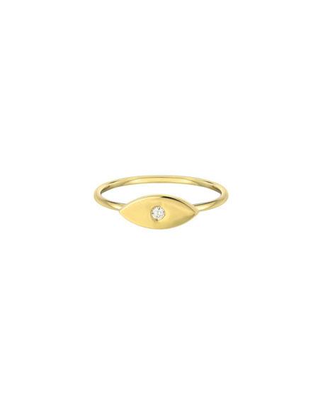 Zoe Lev Jewelry 14k Gold Diamond Evil Eye Ring