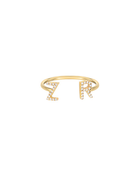 Zoe Lev Jewelry Personalized 14k Gold Diamond Initial Cuff Ring