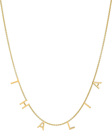 Zoe Lev Jewelry Personalized 14k Gold 6 Mini Initial Necklace
