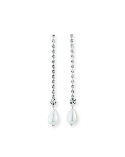 Pearly Rhinestone Drop Earrings