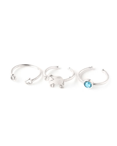 Moon & Star Rings  Set of 3  Silver