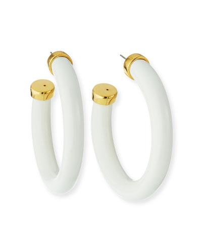 Resin Hoop Earrings, White