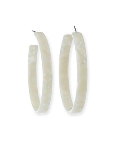 Resin Hoop Earrings  Ivory