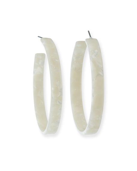 Kenneth Jay Lane Resin Hoop Earrings, Ivory