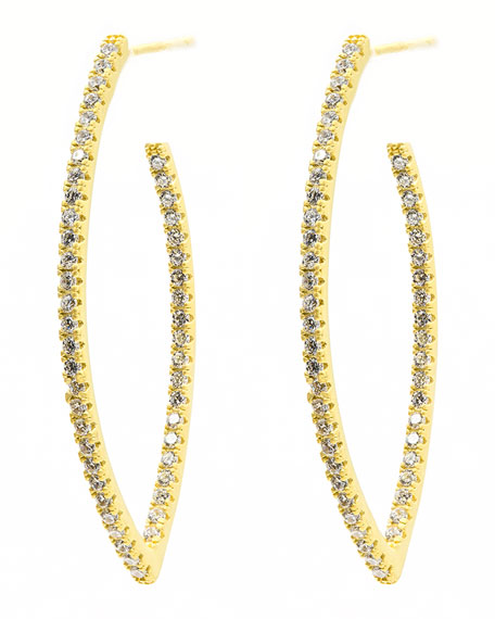 Freida Rothman Signature Allover Pave Pointed Hoop Earrings