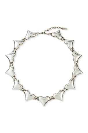 Saint Laurent Multi-Heart Collar Necklace