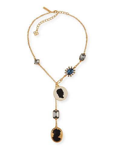 Cameo & Crystal Y-Drop Necklace