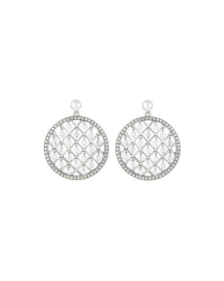 Oscar de la Renta Mini Pearly-Lattice Drop Earrings