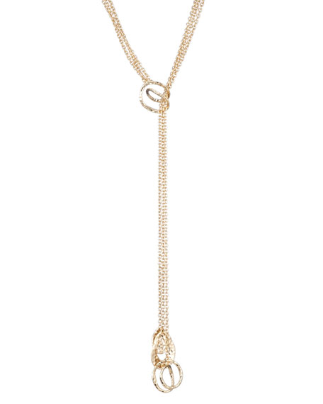 Alexis Bittar Hammered Coil-Link Lariat Necklace