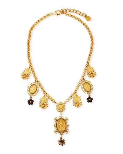 Medallion & Flower Necklace