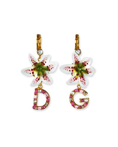Lily Embellished Logo-Drop Earrings