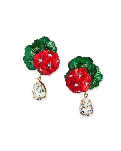 Geranium & Crystal Earrings