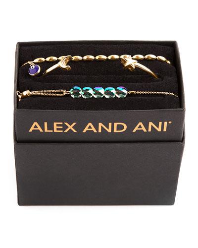 Galaxy Moon & Star Bracelets  Set of 3  Gold