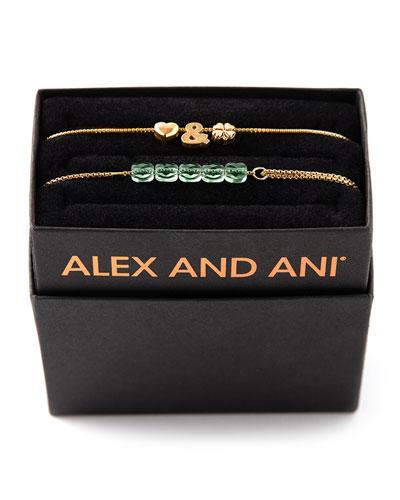 Love & Luck Bracelets  Set of 2  Gold