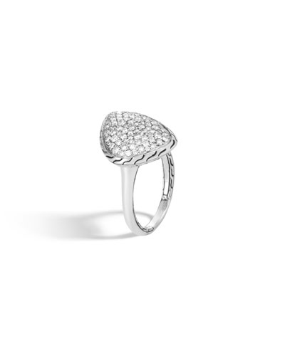 Classic Chain Small Geometric Diamond Pave Ring  Size 7