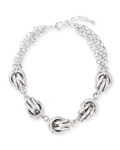 Short 5-Knot Necklace, Silver