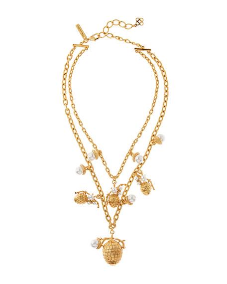 Oscar de la Renta Pearly Pine Cone Necklace